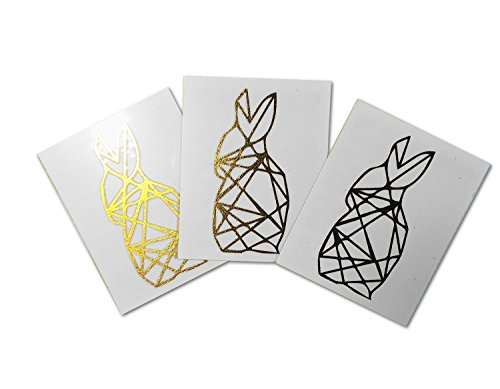 Tattoo Moments Animal Temporary Tattoos - Gold Geometric Bunny (Set of 3 Tattoos) - Fashionable, Unique, Skin Safe and Waterproof - Perfect for Collarbone, Arm, Chest, Back or Leg