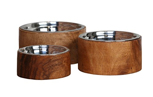 Dog Bowls: Anderson Acacia Wood Raised Collection, Large by Three Boys of Scottsdale Pet Boutique