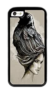 Apple Iphone 5C Case,WENJORS Adorable Raven Haired Soft Case Protective Shell Cell Phone Cover For Apple Iphone 5C - Black