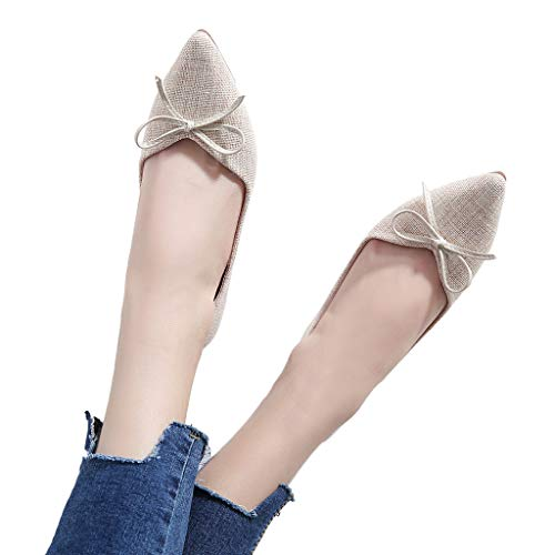 kaifongfu Flat Shoes for Women Soft Single Shoes Ladies Wild Shoes(Beige,42)