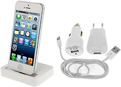 Accessori I Phon 5.Kit Accessori Per Apple Iphone 5 5s 5c Basetta Bianca Dock Station Per Ricarica Caricabatterie Bianco 3in1 Casa Amazon It Elettronica
