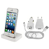 KIT ACCESSORI PER APPLE IPHONE 5 / 5S / 5C BASETTA BIANCA DOCK STATION PER RICARICA + CARICABATTERIE BIANCO 3in1: CASA - AUTO - CAVO USB