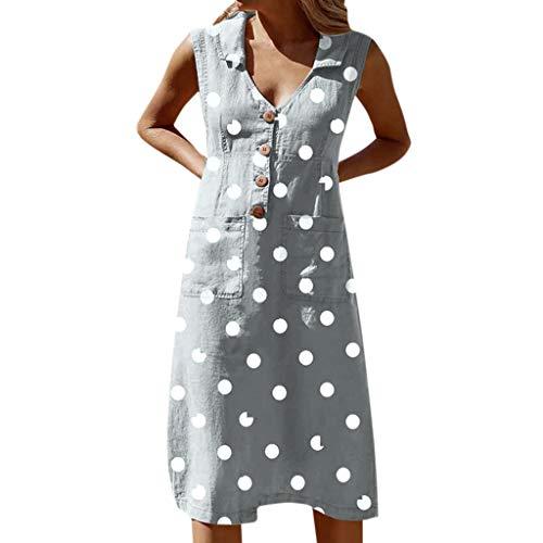 BNisBM Club Dresses for Women Elegant Dot Print Boho Dress Tank Dress Button Pocket Dress (4XL,Gray)