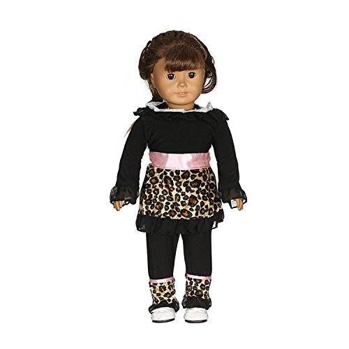 Kids Safari Outfit (Aimee 18 Inch Doll Clothes | Black Ruffled Lace Cheetah Print Trim and Matching Leopard Print Leggings | Fits American Girl Dolls, Fashion Safari AG Doll)
