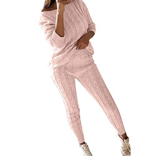 Dimanul✿ Womens Ladies Solid Off Shoulder Cable Knitted Warm 2PC Loungewear Suit Set Sweatshirt Tracksuit Shirt - Gauze Knitted