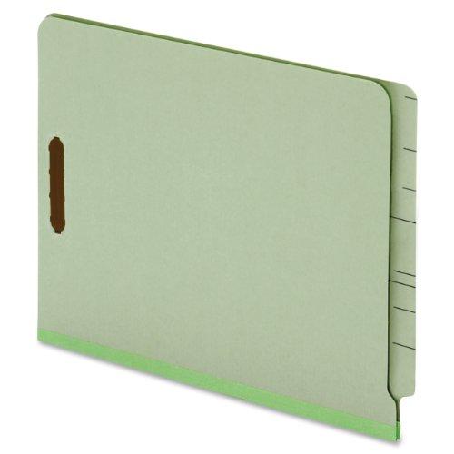 Durable Green Pressboard Expansion Folders (Globe-Weis/Pendaflex End Tab Pressboard Fastener Folders, Letter Size, 2-Inch Expansion, Embedded Fasteners, Light Green, 25-Count (44715))