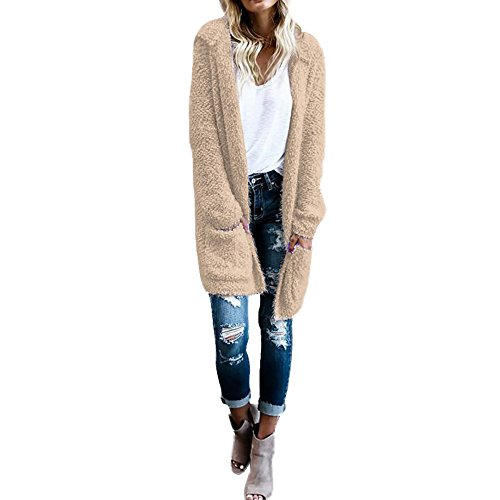 Hooded Wrap Jacket - Women Cardigan, Realdo Hoodie Knit Long Sleeve Sweaters with Pockets Khaki, S