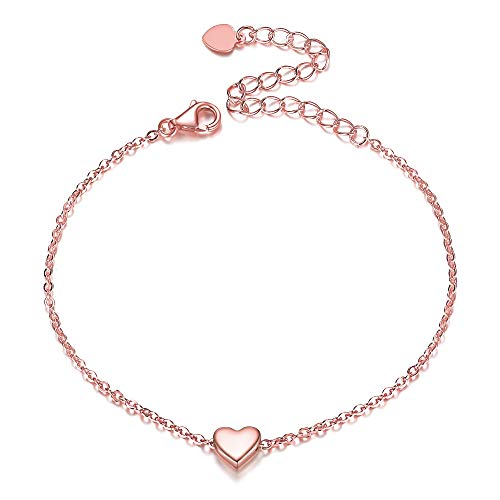 Rose Gold Plated 925 Sterling Silver Bracelet, Dainty Small Heart Love Bracelet Fashion Charm Bracelet for Women Girls