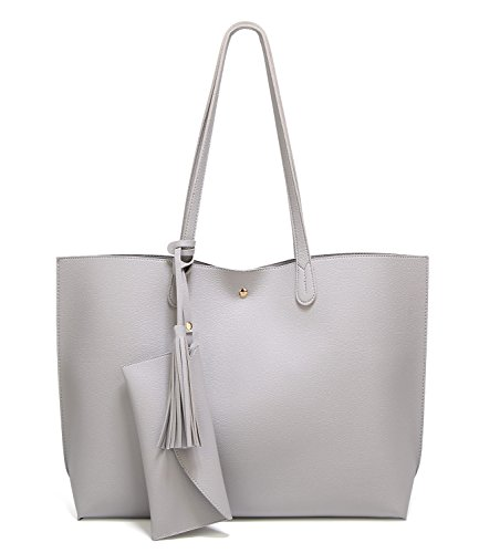 SIFINI Women Tassels PU Leather Bag Simple Style Shopping Handbag Shoulder Tote Bag (light grey) by SIFINI