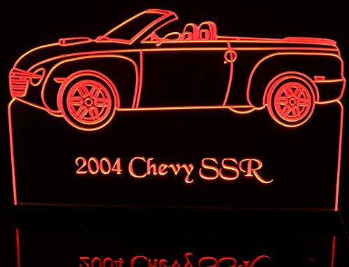 "ValleyDesignsND 2004 Chevy SSR Convertible Acrylic Lighted Edge Lit Awesome 21"" 30 LED Sign Light Up Plaque 04 Black Mirror Base Made in The USA"