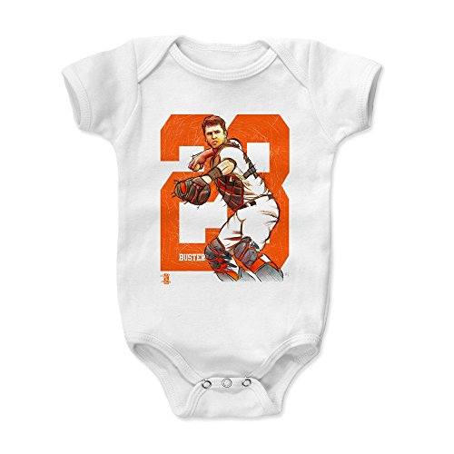 500 LEVEL Buster Posey Baby Clothes, Onesie, Creeper, Bodysuit 18-24 Months White - San Francisco Giants Baby Clothes - Buster Posey Sketch - Francisco Giants Body San