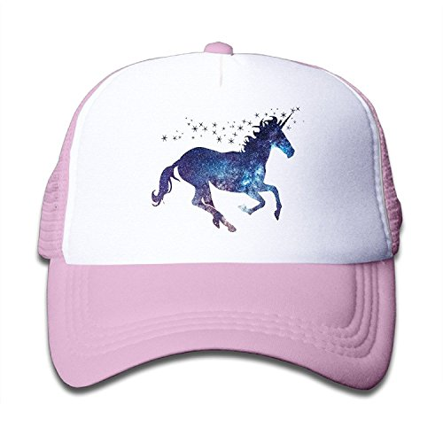 Adjustable Caps Kids Starry Sky Magic Unicorn Horse Trucker Mesh Hats Pink