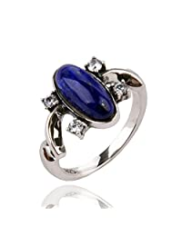 925 Sterling Silver Plated CZ Blue Stone Vampire Diaries Elena's Daylight Womens Band Ring,Size 6-8