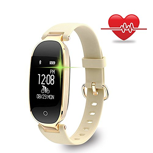Fitness Tracker, WOWGO Women Sport Tracker Smart Watch Band Bracelet, Heart Rate Monitor Smart Bracelet,Wristband Watch with Health Sleep Activity Tracker Pedometer for iOS Android Phone, Gold