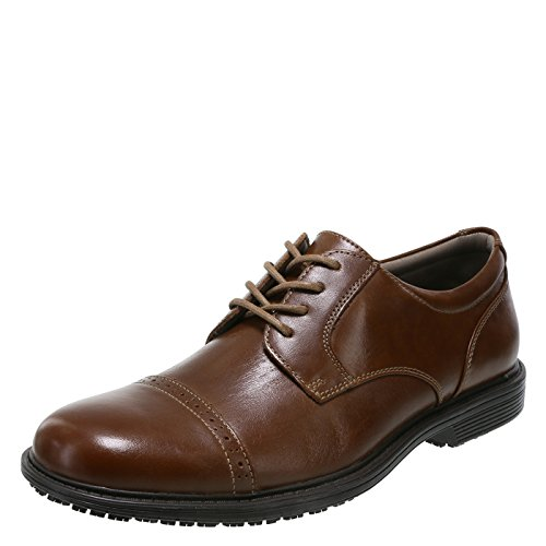 safeTstep Cognac Men's Slip Resistant Able Leather Cap Toe Oxfords 12 Regular