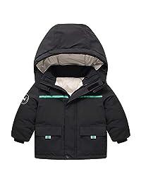 Kids Down Coats Boys Girls Winter Puffer Padded Jacket Hooded Thicken Outerwear