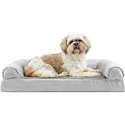 Furhaven Pet Dog Bed | Orthopedic Ultra Plush Faux Fur & Suede Sofa-Style Living Room Couch Pet Bed for Dogs & Cats, Gray, Medium