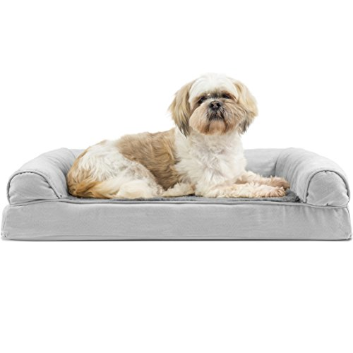 (FurHaven Pet Dog Bed | Orthopedic Plush & Suede Sofa-Style Couch Pet Bed for Dogs & Cats, Gray, Medium)