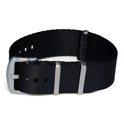 AlphaShark by BluShark - Luxury Seat Belt Nylon Watch Strap - 20mm Black