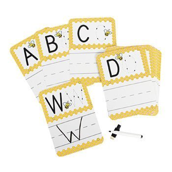 Busy Bee Write-On/Wipe-Off Alphabet Cards, 27 Piece (Teacher Resource & Learning Aid) by OTC