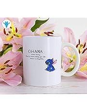 Mattanch Ohana Means Family kaffemugg lilo och söm muggar med ordstäv Disney Stitch keramisk mugg inspirerande flickvän present