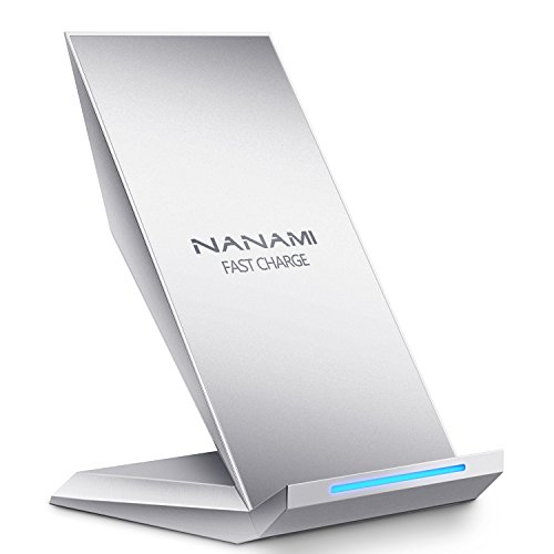Fast Wireless Charger, NANAMI Qi Charger Wireless Charging Stand for Samsung Note8, iPhone 8/8 Plus, iPhone X, Galaxy S8 S8 Plus S7 S7 Edge Note 5 S6 Edge Plus and All Qi-Enabled Devices-Silver