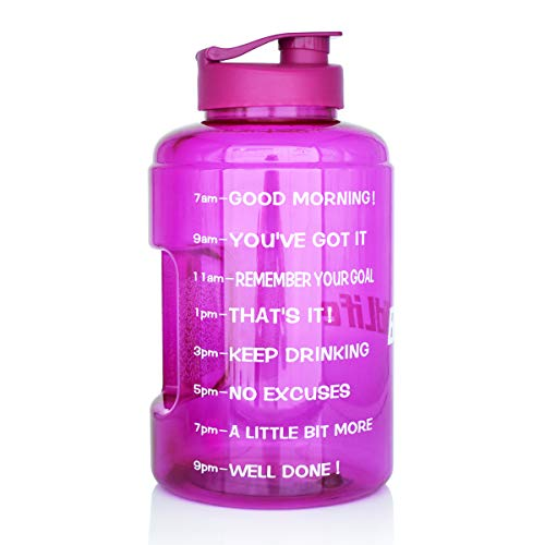 (1 Gallon(128OZ) Water Bottle Inspirational Fitness Workout Sports Water Bottle with Time Marker Times for Measuring Your H2O Intake, BPA Free Non-Toxic,Leak Proof Lid (1 Gallon, Purple+Purple lid))