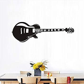 Pegatinas de pared de guitarra eléctrica silueta música paredes ...