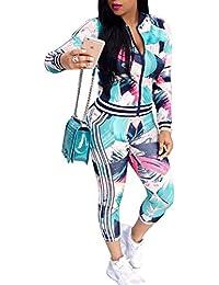 Women's Floral Tracksuit Jacket and Pants 2 Piece Sports Joggers Jog Set