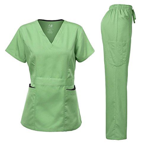 Dagacci Medical Uniform Medical Uniform Women's Scrubs Set Stretch Contrast Pocket Apple Green ()