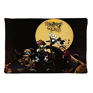 Surful Gift Pillow Case ~ kingdom hearts goofy jack skellington The Nightmare Before Christmas ~ Image (One side) Custom 30X20 inches Pillowcase