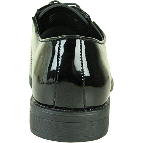 Vangelo Män Smoking Sko Tux-7 Mode Moc Tå Med Skrynkelfritt Material - Bred Bredd Tillgängligt Svart Lack