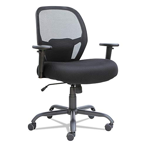 Alera ALEMX4517 Merix Series Mesh Big/Tall Mid-Back Swivel/Tilt Chair, Black Eco Leather Conference Chair