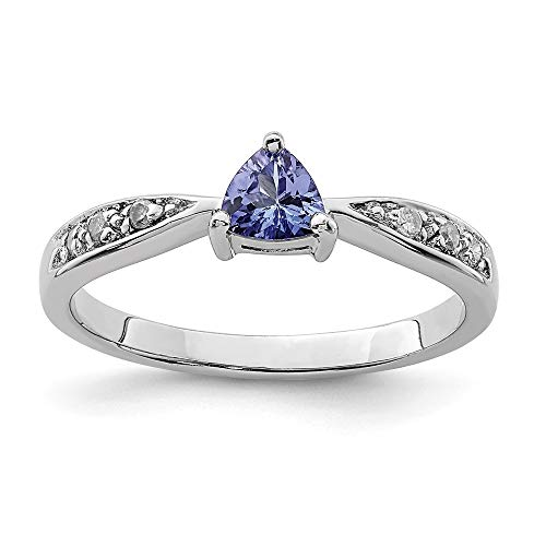 - 925 Sterling Silver Blue Tanzanite Diamond Band Ring Size 7.00 Stone Gemstone Fine Jewelry Gifts For Women For Her