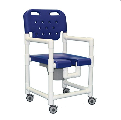 Shower Access Chair - IPU ELT817 P Elite Rolling Shower Commode Chair for over Toilet, Bedside, and in the Shower