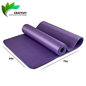 Yoga and Exercise Mat ExtraThick NBR Foam Mat with Carrying Bag by CRAFTSFY (XL Size: 6 Feet x 2 Feet)