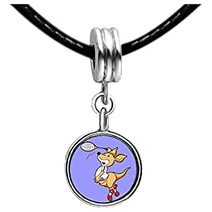Chicforest Silver Plated Badminton cartoon mouse arm swing Photo Sapphire Crystal September Birthstone Flower dangle Charm Beads Fits Pandora Charm