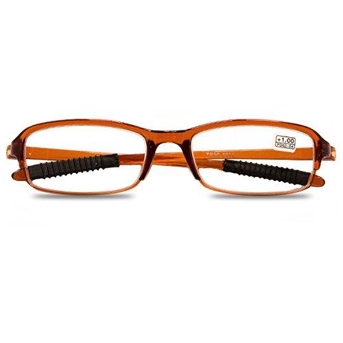 VEVESMUNDO Damen Herren Lesebrillen Augenoptik Lesehilfe Sehhilfe Leicht Flexibel Stil Schmal Klassische kunststoff Lesebrille Brille Set Schwarz Rot Braun. (1 Stück Set Braun, 3.5)