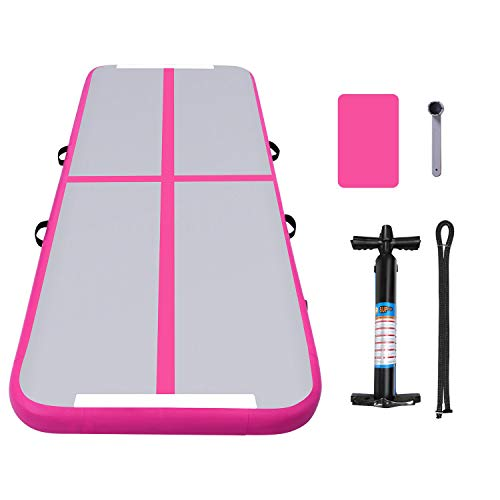 "ANCHEER Inflatable Air Track Tumbling Mat Air Floor for Gymnastic Training, Home Use, Cheerleading, Yoga, Taekwondo, W/Hand Pump & Repair Kit, 9.8′ x 3.3′ x 4"" (Pink_9.8′ x 3.3′ x 4"")"