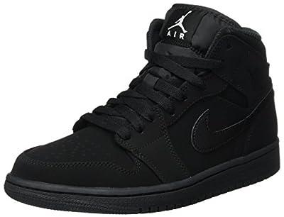 Nike Men's Air Jordan 1 Retro Mid Basketball Shoe Black/White-Black