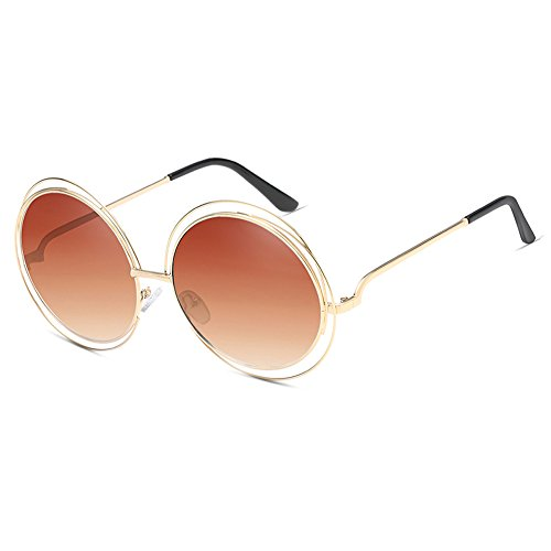 Vintage Oversized Round Sunglasses for Women Metal Mirror Lens Large Frame - For Sunglasses Best Face Large