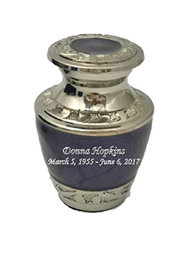 (Customized Pearl Lavender Keepsake Cremation Urn, Funeral Tokens, Ash Urns with Personalized Engraving - Small Size)