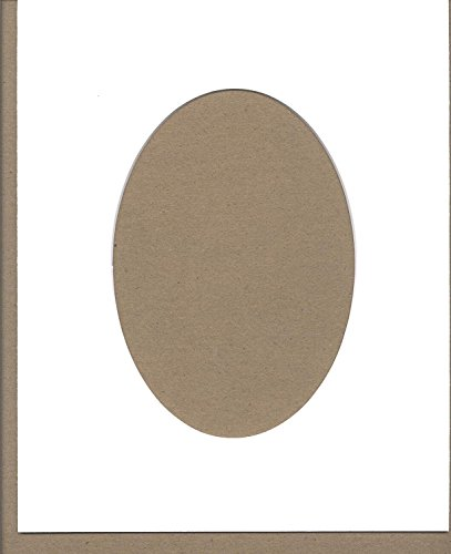 Oval Matte - Pack of 5 8x10 White Oval Opening Picture Mats Bevel Cut for 5x7 Pictures