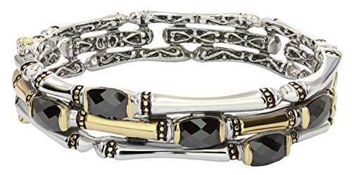 John Medeiros Canias Collection Two-Tone Three Row Hinged Bangle Bracelet with Black Cubic Zirconia made in Rhode Island