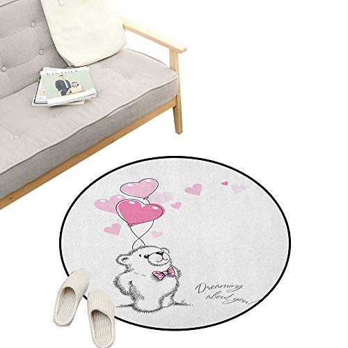 (Bear Custom Round Carpet ,Sweet Little Teddy Bear Keeping Pink Heart Shaped Balloons Romantic Quote, Dorm Room Bedroom Home Decorative 31