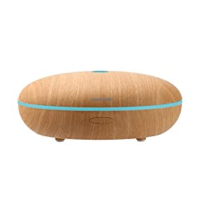 Ominihome Essential Oil Diffuser, 400ml Ultrasonic Humidifier with 7 Changing LED Colors, Aroma Diffuser Cool Mist Air Purifier, for Large Room, Wood Grain (shallow wood grain)