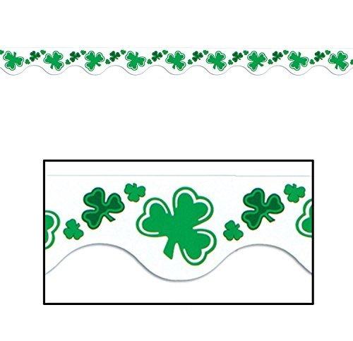 St Patrick Border Trim Party Accessory (1 Count) (12/pkg) (Irish Shamrock Light T-shirt)