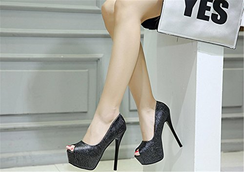 Platform Very yu Wedding Banquet Leather Lh 37 Women Sandals High Black Stilleto Quality High Fashion Party Shoes Heel Court cRwcqzWYd