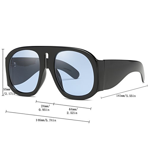270793aec1 Amazon.com  SIKYGEUM Oversized Sunglasses Women Multi Tinted Thick Big Frame  Clout Goggles  Clothing