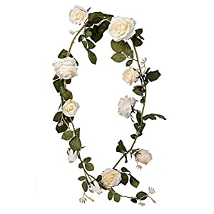 LUSHIDI 5.9Ft Artificial Rose Vine Silk Flower Garland Hanging Vines Home Outdoor Wedding Arch Garden Wall Decor,Pack of 1 49